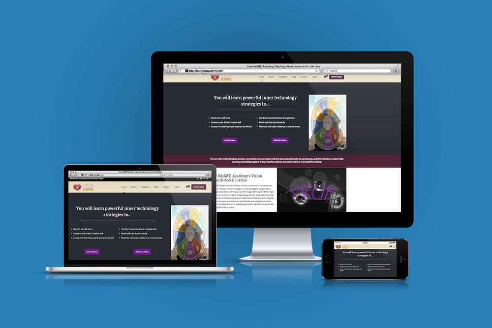 Responsive website, showing laptop, desktop and phone