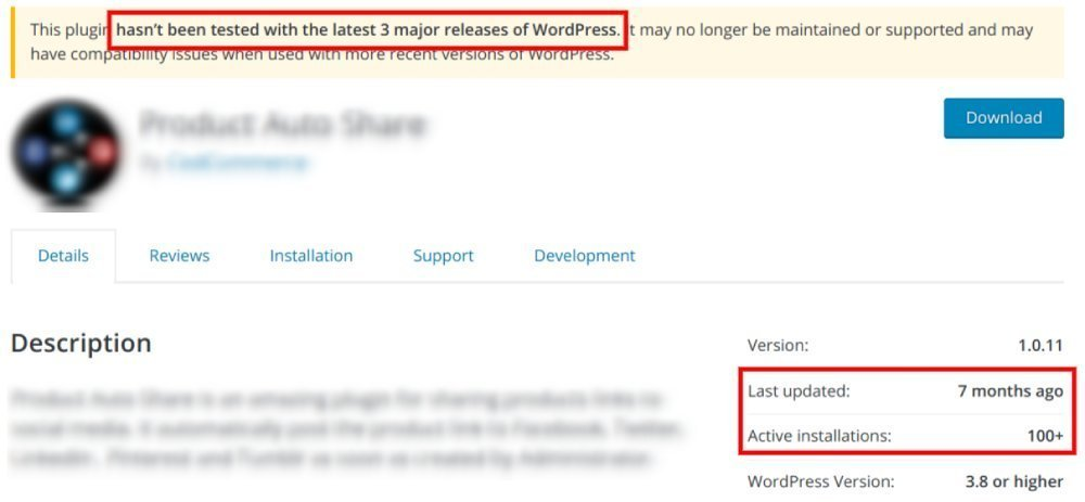 WordPress plugin that is out of date