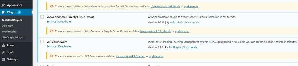 WordPress Plugins and Core Updates