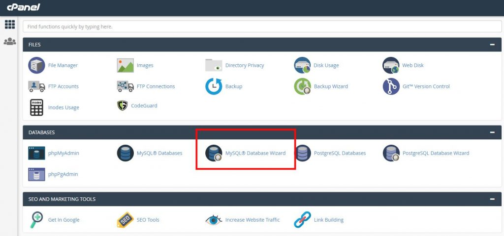 Creating a database in cPanel