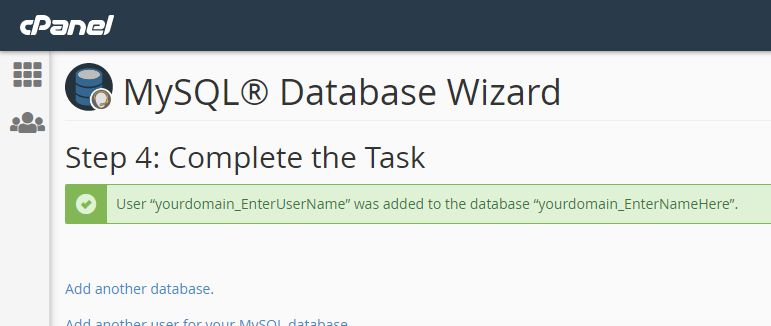 Created database in cPanel