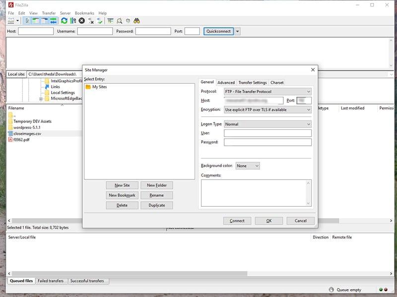 Screenshot of Filezilla FTP client