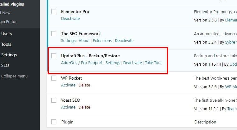 UpdraftPlus - Backup plugin for WordPress