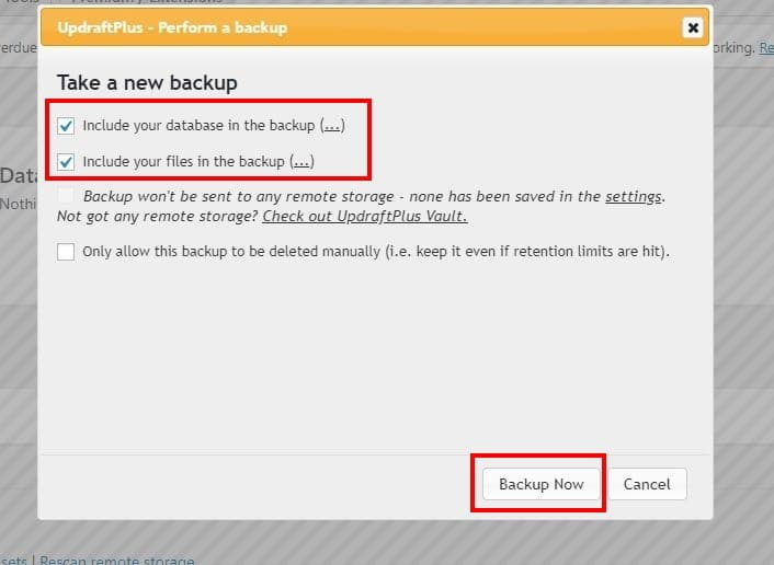 Selective backups with UpdraftPlus