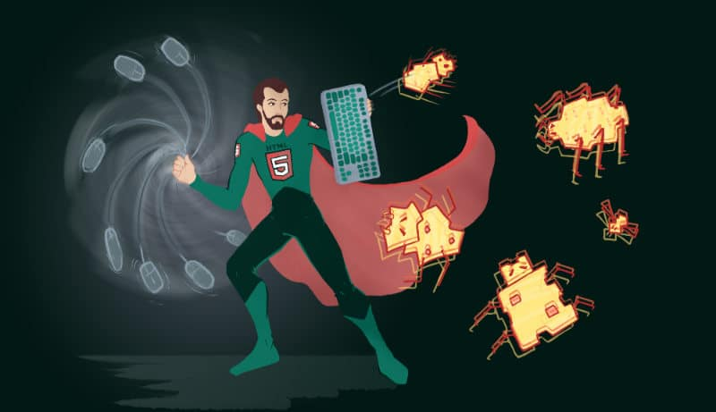 A superhero protects a website from malware