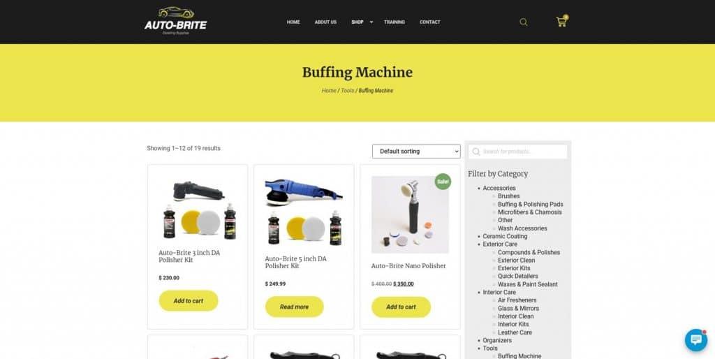 Auto-Brite ecommerce website