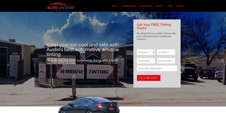 Auto Tinting Website Design