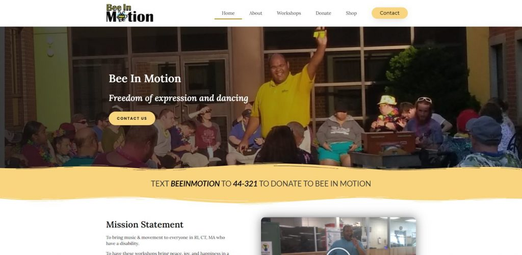 Nonprofit web design for Bee in Motion