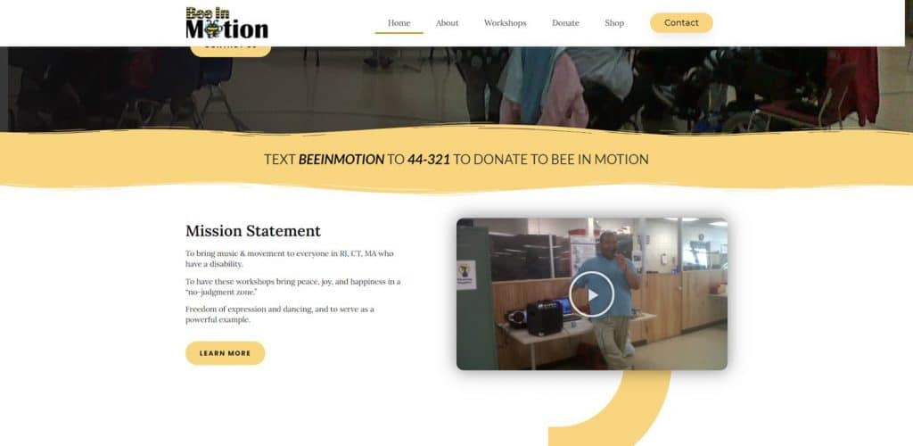 Nonprofit website for Bee in Motion