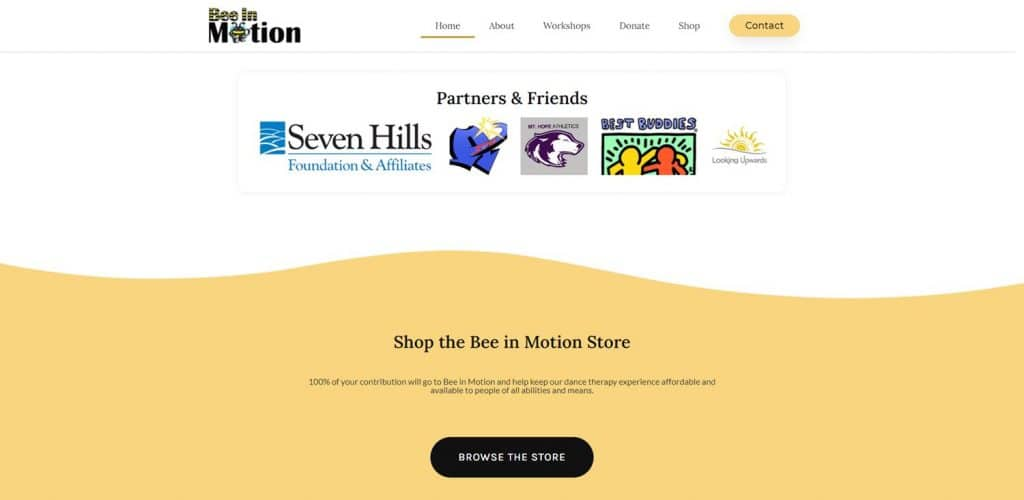 Nonprofit website design for Bee in Motion