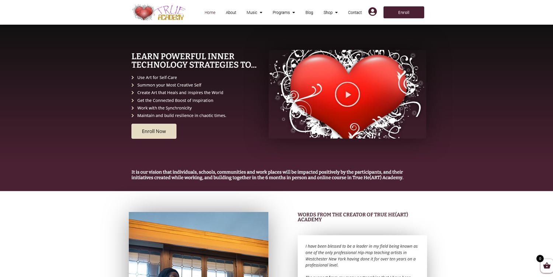 Trueheart Academy website
